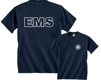 EMS Badge Emergency Medical Services White Logo F&B T-Shirt
