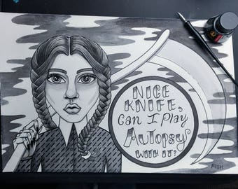 Wednesday Addams Ink Drawing