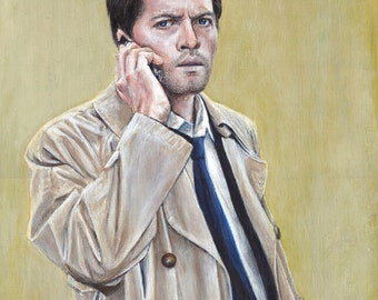 Supernatural Castiel Misha Collins Acrylic Painting Art Print 11.7 x 16.5 inch