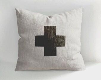 Swiss Cross - 100% Hand Drawn Linen Pillow -Decorative Pillow - Throw Pillow - Natural Linen - Scandinavian Style - Hand drawn