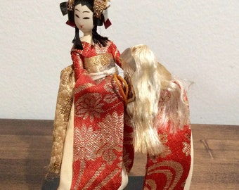 Japanese kimono mini figurene doll handmade in Japan.