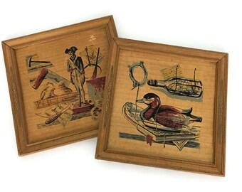Vintage Pair of Wooden Prints // Colonial America // Boys Nursery Room Decor // Duck Soldier Ship