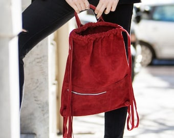 Red suede leather handmade backpack