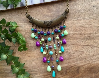 Boho Necklace Colorful Necklace Crystal Necklace Long Necklace Hippie Necklace Ibiza Style Pendant Necklace Turquoise & Purple Gift for her