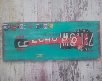 License Plate Art - Funky Music Guitar Rock and Roll  - Recycled Art Company - Anniversary Wedding - Upcycled Artwork