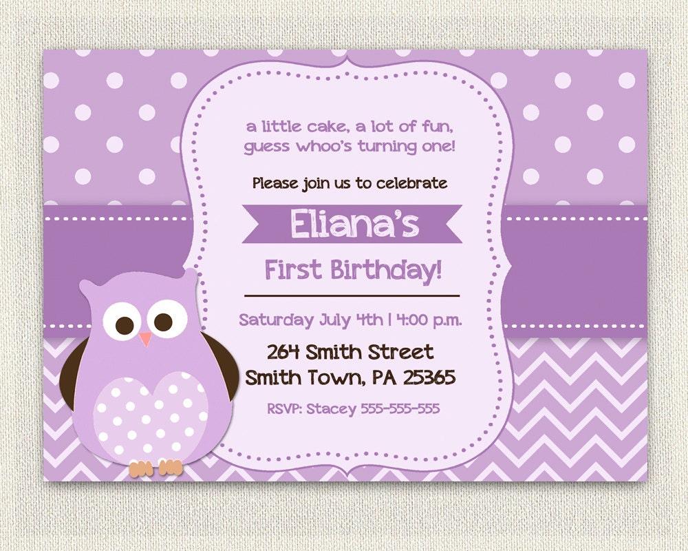 Purple Birthday Invitation Girls Owl Lavender 1st 2nd 3rd /