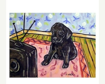 25% off Black Labrador Retriever Puppy Watching Television Dog Art Print JSCHMETZ modern abstract folk pop art AMERICAN ART gift 11x14