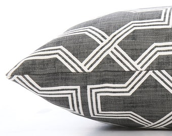 Trellis Charcoal Gray dog bed cover // Neutral designer pet bed cover // Mid century modern geometric dog bed duvet for small to large dogs