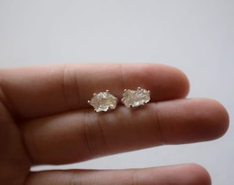 MADE TO ORDER Raw Diamond Earrings, Rough Diamond Earring, Natural Diamond Earring, Bridal Studs, Mothers Day Earrings, Hippy Boho Studs