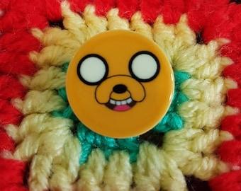 Handmade Adventure Time brooch/pin badge - Jake the dog and Finn the human