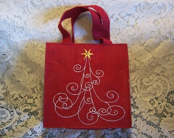 Red Felt Bag with Eight with Twelve Unusual Christmas Ornaments
