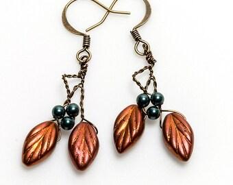 Teal and Copper Leaf Earrings