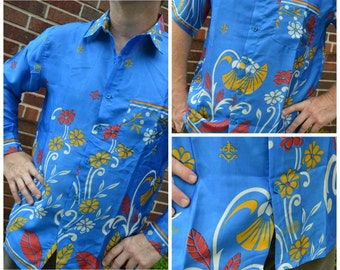 Men's Handmade Sari Silk Button Down, Short or Long Sleeve Dress Shirt - Bright Blue Floral - Large or XL - Azraq I883