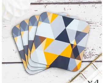 Scandi Geometric Coasters (4) - Scandinavian Modern Drinks Coasters - Mustard Coasters - Grey Coasters - Triangle Print - mid century style