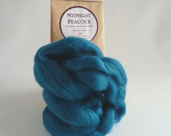 Peacock blue merino roving, 25g, 1oz, Midnight Peacock, 21 micron, merino roving,  merino tops, felting wool, needle felting, wet felting