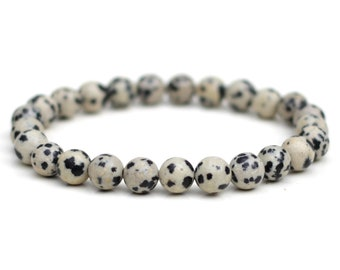 Dalmatian Jasper Bracelet Natural Grade-A 8mm Stones Custom Size Stretch Fit