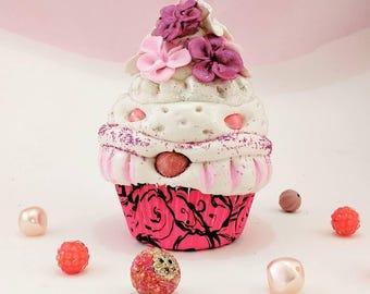 Handmade boutique clay cupcake