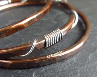 Copper and sterling silver coil bangles, hammered bracelets for women, copper wedding anniversary gift for wife, ladies bangles, arthritis