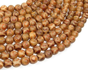 Tibetan Agate, 8mm(8.3mm) Round Beads, 15.5 Inch, Full strand, Approx 48 beads, Hole 1.2mm (122054272)
