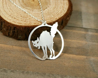 Black Cat Necklace - Anarchy, Sabo-Tabby, Hand Cut Sterling Silver Pendant