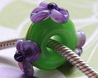 Handmade European Glass Charm Big Hole Bead - Flower and Vine - Summer Brights -Lime Purple