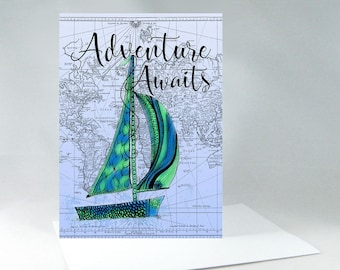 Sailboat Art, Adventure Awaits, Adventure Quote, Adventure Awaits Sign, Adventure Map, Adventure Time, Vintage Map Art, Travel Sign 1123A
