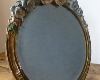 RESERVED for Nilam - Freestanding Barbola Mirror 29x26cm AND Petit Point Glass Jar