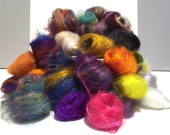 Needle Felting wool kit, roving, fiber Surprise Pack, remnant wool, grab bag wool, embellishment, mini batt, mini roving