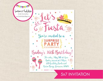 Fiesta Birthday Invitation, Fiesta Birthday, Fiesta Watercolor Invitation, Fiesta Birthday Decorations, Fiesta Party, Lauren Haddox Designs