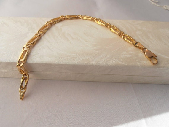 "Vintage 14K Solid Yellow Gold Fancy Chain Bracelet 8.5"" - Perfect Gift - Anniversary - Birthday - Easter - Christmas"