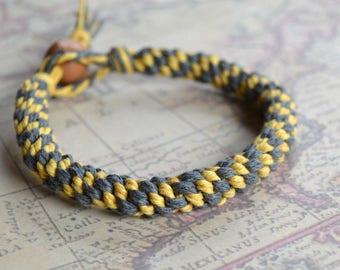 Steelgray Gold Yellow Round Hemp Bracelet Custom Made in USA