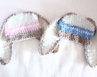 0 to 3m Newborn Twin Hats, Newborn Boy, Newborn Girl, Bunny Hats, Newborn Hats, Twins Baby Hat Set, Blue Pink Stripe, Bunny Costume