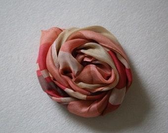 Louis Quatorze Paris oblong silk scarf headscarf wrap vintage designer gifts scarves for women coral rose pink yellow beige bronze taupe
