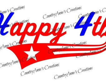"SVG PNG DXF Eps Ai Wpc Cut file for Silhouette, Cricut, Pazzles,ScanNCut  - ""Happy 4th"" svg"
