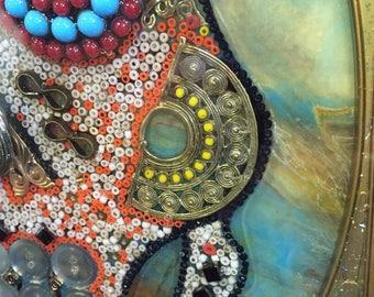 Day of the Dead Skull Framed Mosaic Wall Art