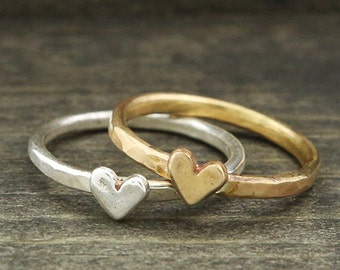 itty bitty heart stacking ring