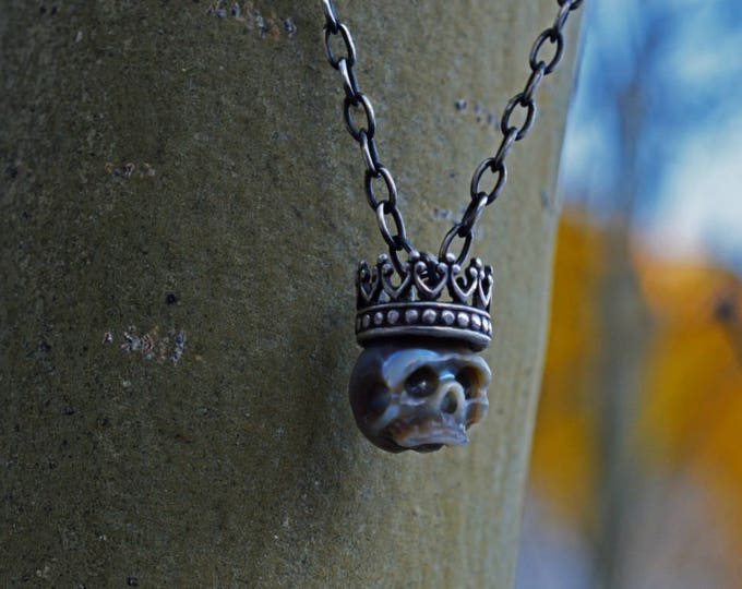 Featured listing image: Carved Pearl Skull Necklace with Sterling Silver Crown - Grey Pearl Skull Pendant -Christmas Necklace - Pearl Necklace - Unique Gift
