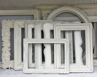 Picture Frame Set five Cream Hand Painted Distressed One 11x14, Two 8x10, Two 5x7