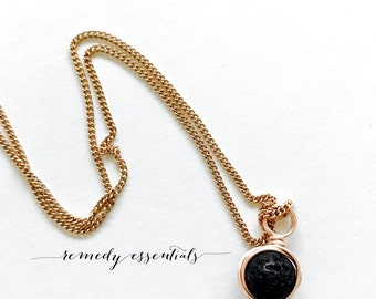 Minimalist Rose Gold Wire Wrapped Lava Necklace; 8mm, 10mm, or 12mm Lava Stone; Diffuser Necklace; Aromatherapy Jewelry; Essential Oil; Lava