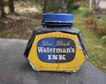 Vintage 1940s to 1950s Waterman's Permanent Fountain Pen Ink Blue/Black NIB Anchor Hocking Bottle/Jar Retro NOS Label Blue Metal Cap 2 oz.