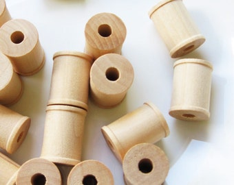 25 Wooden Spools 1 x 3/4 inch, Wood Bobbin for Crafting, Twine, Thread, Sewing or Decor