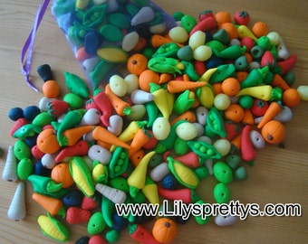 Fruit and Vegetable Handmade Fimo Polymer Clay Beads, Blueberries, Carrots, Sweetcorn, Orange, Apple, Lemon, Lime, Chilli, Parsnip,Pumpkin