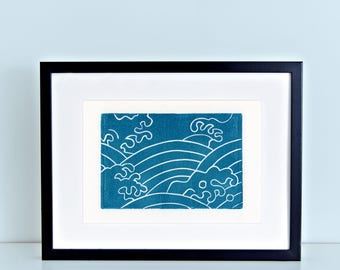 8x10 Japanese Linocut Art Print Tempest Water Pattern Turquoise Bathroom Kitchen