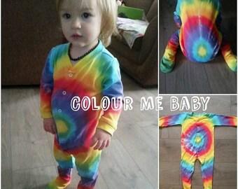 Rainbow circles baby soft cotton sleepsuit