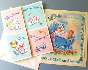 Two baby congratulation cards. Welcome baby. Baby cards. New arrival. Baby shower. New parents. Teddy bears. Pram / buggy. Vintage baby.