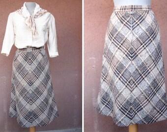 1970's A-Line Midi Skirt - 70's Brown Tweed Skirt #1370