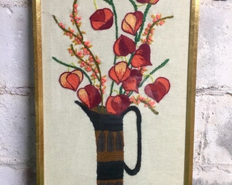 Mid-century Crewel Embroidery Framed Large Outstanding