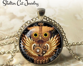 "Steampunk Mechanical Owl Necklace - 1-1/4"" Circle Pendant or Key Ring - Handmade Wearable Art Photo - Gears, Science, Nature, Gift"