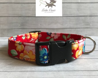 Handmade Dog Collar - red & yellow floral collar - Various sizes are available