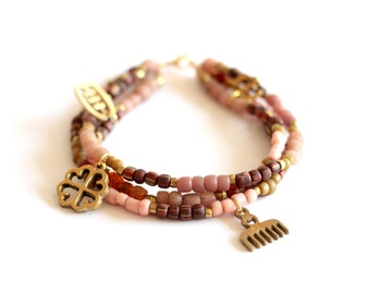 FEMI: Three Strand African Anklet, African Beads, Indonesian Glass, Adinkra Symbol,  Ethnic Tribal, Ankle Foot Jewelry, Ethiopian Jewelry